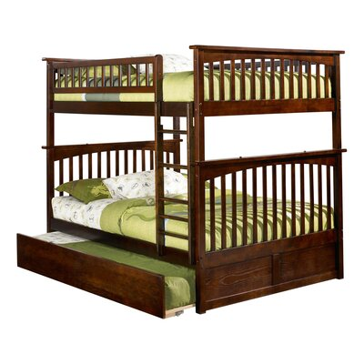 Abel Full Over Full Hardwood Bunk Bed with Trundle Bed Frame Color: Walnut