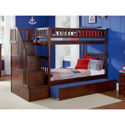 Abel Staircase Twin Over Twin Standard Bed with Trundle Bed Frame Color: Walnut