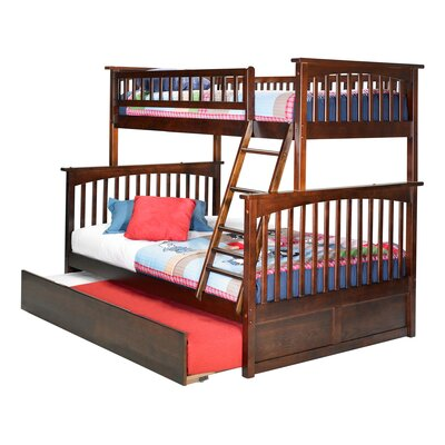 Abel Twin Extra Long Over Full Bunk Bed with Trundle Bed Frame Color: Walnut