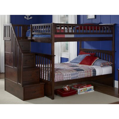 Abel Staircase Full Over Full Bunk Bed Bed Frame Color: Walnut
