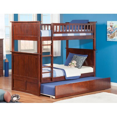 Abbie Twin Over Twin Standard Bed with Trundle Bed Frame Color: Walnut