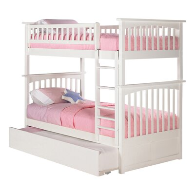 Abel Full Over Full Bunk Bed with Trundle Bed Frame Color: White