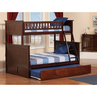Abbie Twin Extra Long Over Full Bunk Bed with Trundle Bed Frame Color: Walnut