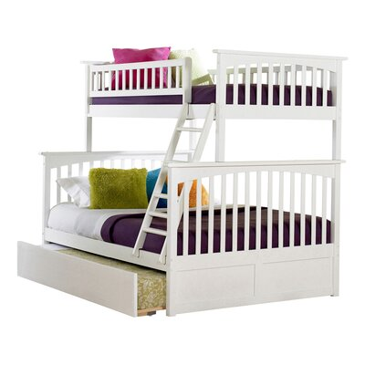 Abel Twin Extra Long Over Full Bunk Bed with Trundle Bed Frame Color: White