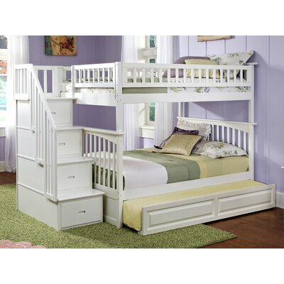Abel Staircase Full Over Full Eco-friendly Hardwood Bunk Bed with Trundle Bed Frame Color: White