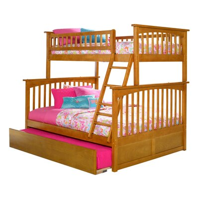 Abel Twin Extra Long Over Full Bunk Bed with Trundle Bed Frame Color: Caramel Latte