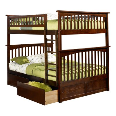 Abel Full Over Full Bunk Bed with Drawers Bed Frame Color: Walnut