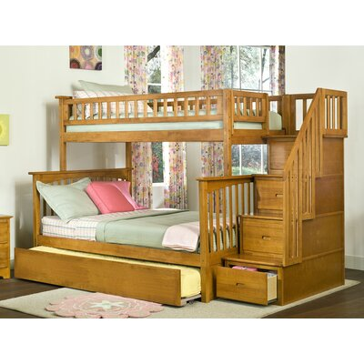 Abel Staircase Twin Over Full Standard Bed with Trundle Bed Frame Color: Caramel Latte
