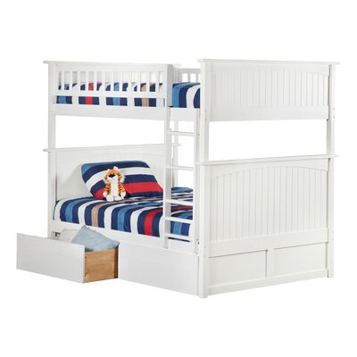 Abbie Full Over Full Bunk Bed with Drawers Bed Frame Color: White