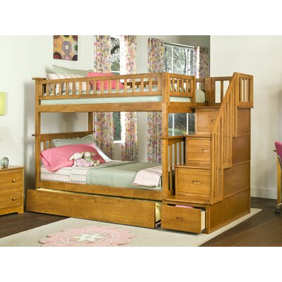 Abel Staircase Twin Over Full Bunk Bed with Trundle Bed Frame Color: Caramel Latte