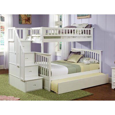 Abel Staircase Twin Extra Long Over Full Bunk Bed with Trundle Bed Frame Color: White