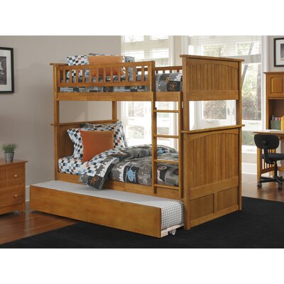 Abbie Twin Over Twin Standard Bed with Trundle Bed Frame Color: Caramel Latte