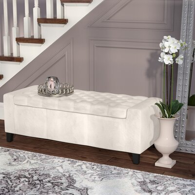 Ilchester Upholstered Storage Bench Upholstery: Ivory