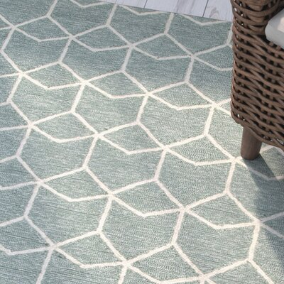 Wells Blue/Ivory Geometric Indoor/Outdoor Area Rug Rug Size: Rectangle 5 x 8