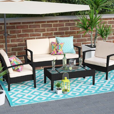 Bembry 4 Piece Deep Seating Group with Cushions Finish: Black / Cream