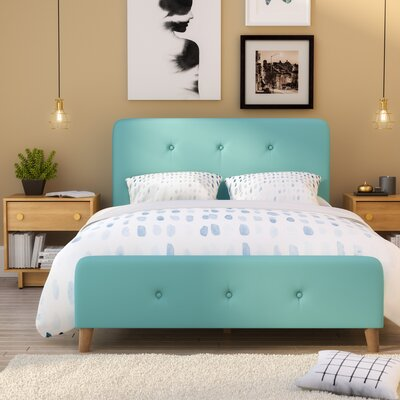 Delray Panel Bed Upholstery: Cyan, Size: Queen