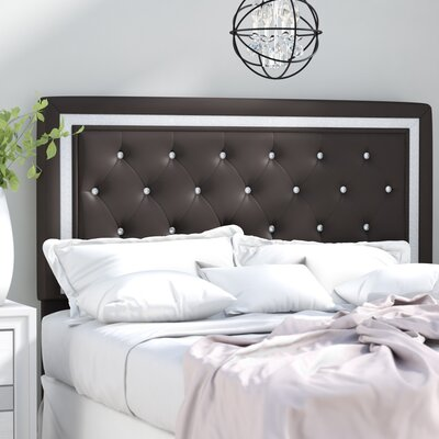 Anamaria Upholstered Panel Headboard Size: King/California King, Upholstery: Black