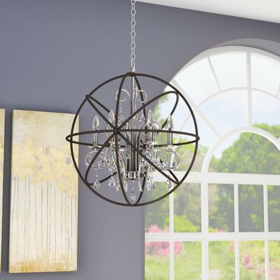 Alden 6-Light Candle-Style Chandelier Finish: Anthracite/Polished Nickel
