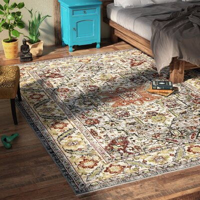 Darien Gray/Yellow/Orange Area Rug Rug Size: Rectangle 710 x 10