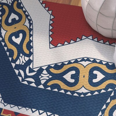 Soluri Red / Blue Indoor/Outdoor Area Rug Rug Size: 2 x 3
