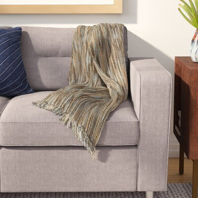 Charisma Striped Throw Blanket Color: Blue / Beige