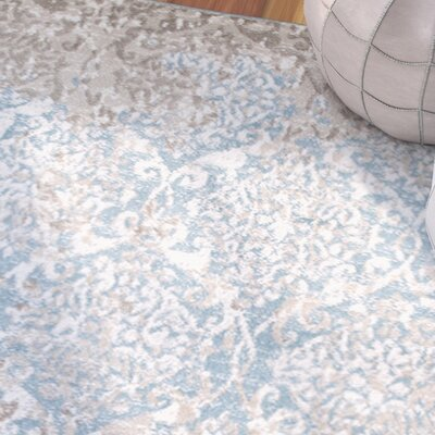 Fayme Abstract Blue/Beige Area Rug Rug Size: 52 x 72