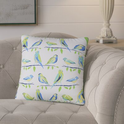Burnsfield Birds Outdoor Throw Pillow (Set of 2) Color: White/Blue