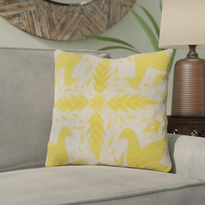 Clayton Throw Pillow Size: 18 H x 18 W, Color: Oatmeal / Quince Yellow, Filler: Down