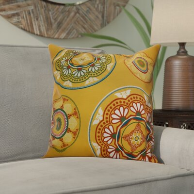 Soluri Medallions Outdoor Throw Pillow Size: 20 H x 20 W x 2 D, Color: Gold