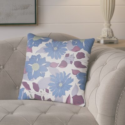 Lyda Flower Throw Pillow Size: 18 H x 18 W x 4 D, Color: Periwinkle