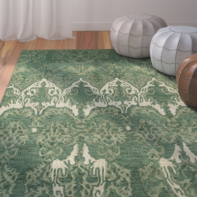 Allen Hand-Tufted Green Area Rug Rug Size: 36 x 56