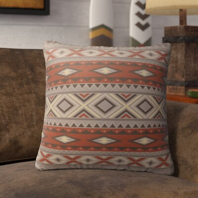 Cabarley Burlap Indoor/Outdoor Throw Pillow Size: 16 H x 16 W x 5 D, Color: Red/ Grey