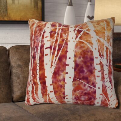 Brookfield Birch Trees Floral Euro Pillow Color: White