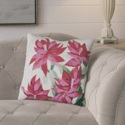 Amanda Christmas Cactus Floral Print Throw Pillow Size: 16 H x 16 W, Color: Pink