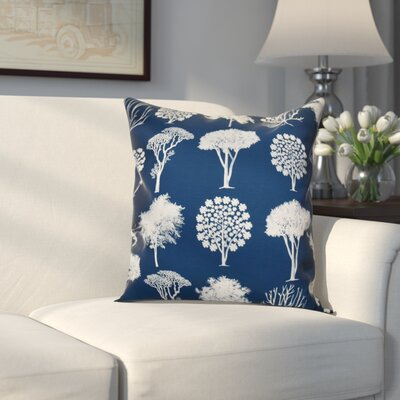 Miller Field of Trees Floral Outdoor Throw Pillow Size: 18 H x 18 W x 2 D, Color: Blue