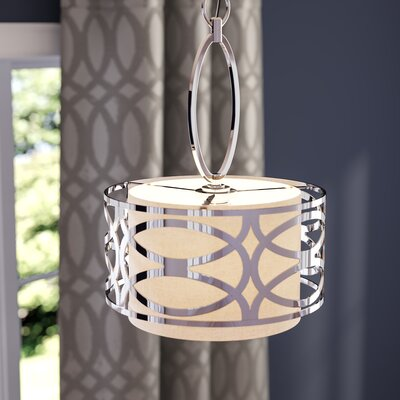 Helina 1-Light LED Drum Pendant Finish / Shade Finish: Hazel Bronze / Khaki Fabric