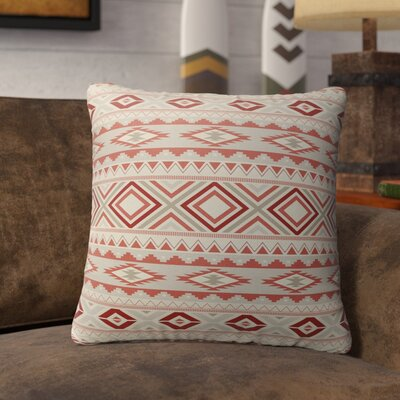 Cabarley Burlap Indoor/Outdoor Throw Pillow Size: 20 H x 20 W x 5 D, Color: Red/ Tan/ Ivory