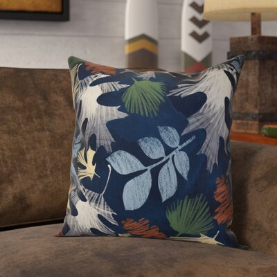 Brookfield Watercolor Leaves Floral Print Throw Pillow Size: 16 H x 16 W x 2 D, Color: Navy Blue