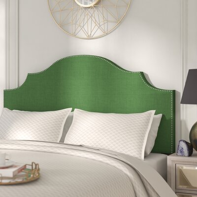 Huddleson Nail Button Notched Linen Upholstered Panel Headboard Color: Kelly Green, Size: Queen