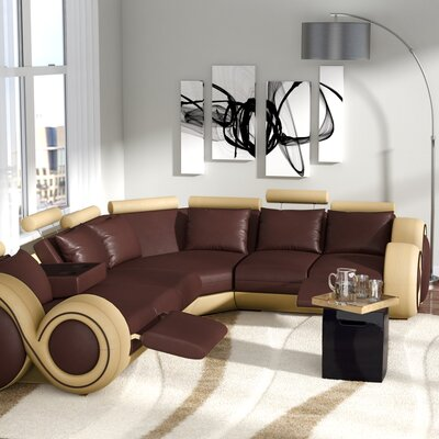 Faviola Reclining Sectional Upholstery: Beige/Brown