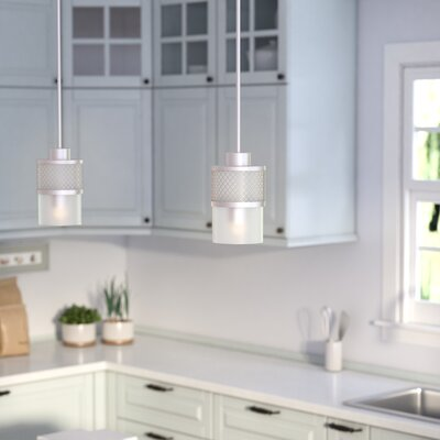 Lofton 1-Light Mini Pendant Finish / Glass Color: Brushed Nickel / Frosted