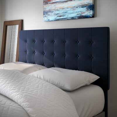 Middle Village Upholstered Panel Headboard Size: King / California King, Upholstery: Navy Blue