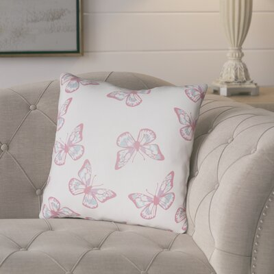 Sanchez Indoor/Outdoor Throw Pillow Size: 18 H x 18 W x 3.5 D, Color: White/Pink