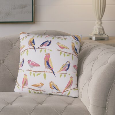 Burnsfield Birds Outdoor Throw Pillow (Set of 2) Color: White/Orange