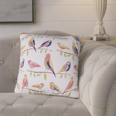 Burnsfield Birds Outdoor Throw Pillow (Set of 2) Color: White/Orange