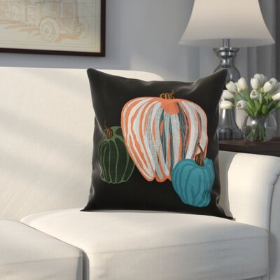 Miller Pumpkin Spice Geometric Outdoor Throw Pillow Size: 18 H x 18 W x 2 D, Color: Black