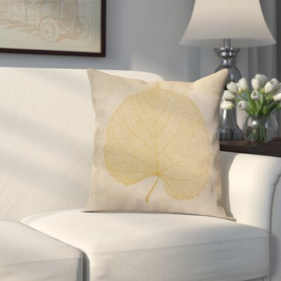 Miller Leaf Study Floral Throw Pillow Size: 16 H x 16 W x 2 D, Color: Gold