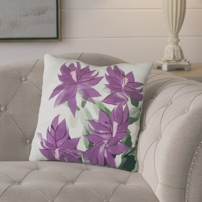 Amanda Christmas Cactus Floral Print Outdoor Throw Pillow Size: 16 H x 16 W, Color: Purple