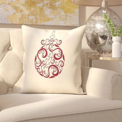 Havelock Decorative Holiday Print Throw Pillow Size: 26 H x 26 W, Color: Ivory/Burgundy