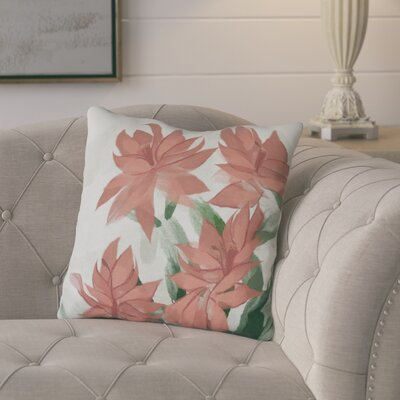 Amanda Christmas Cactus Floral Print Throw Pillow Size: 18 H x 18 W, Color: Coral